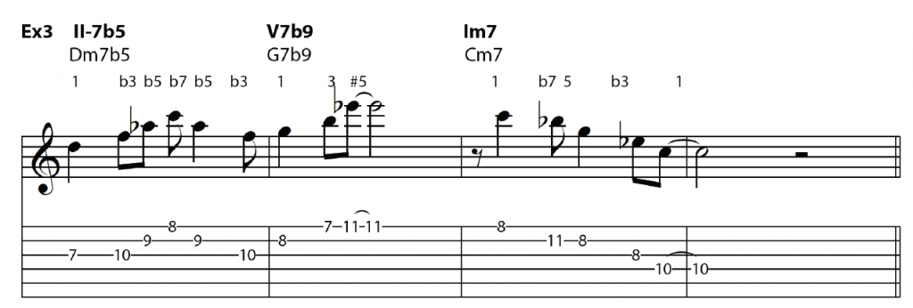 minor II-V-I with roots